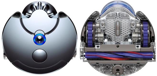 Вид сверху и низу робота-пылесоса DYSON 360 EYE